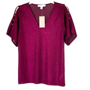 BNWT! Michael Kors Burgundy Metallic Blouse